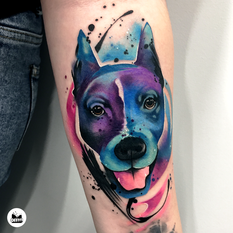 Portrety zwierząt Łódź - tatuaż akwarelowy psa amstaffa