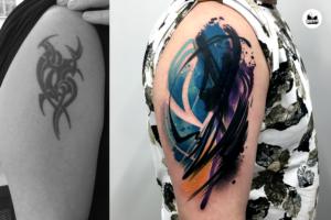 zakrycie tatuazu tribala na ramieniu