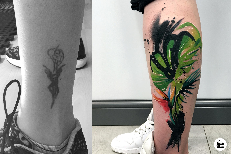 Zakrycie starego tatuażu wzorem liści