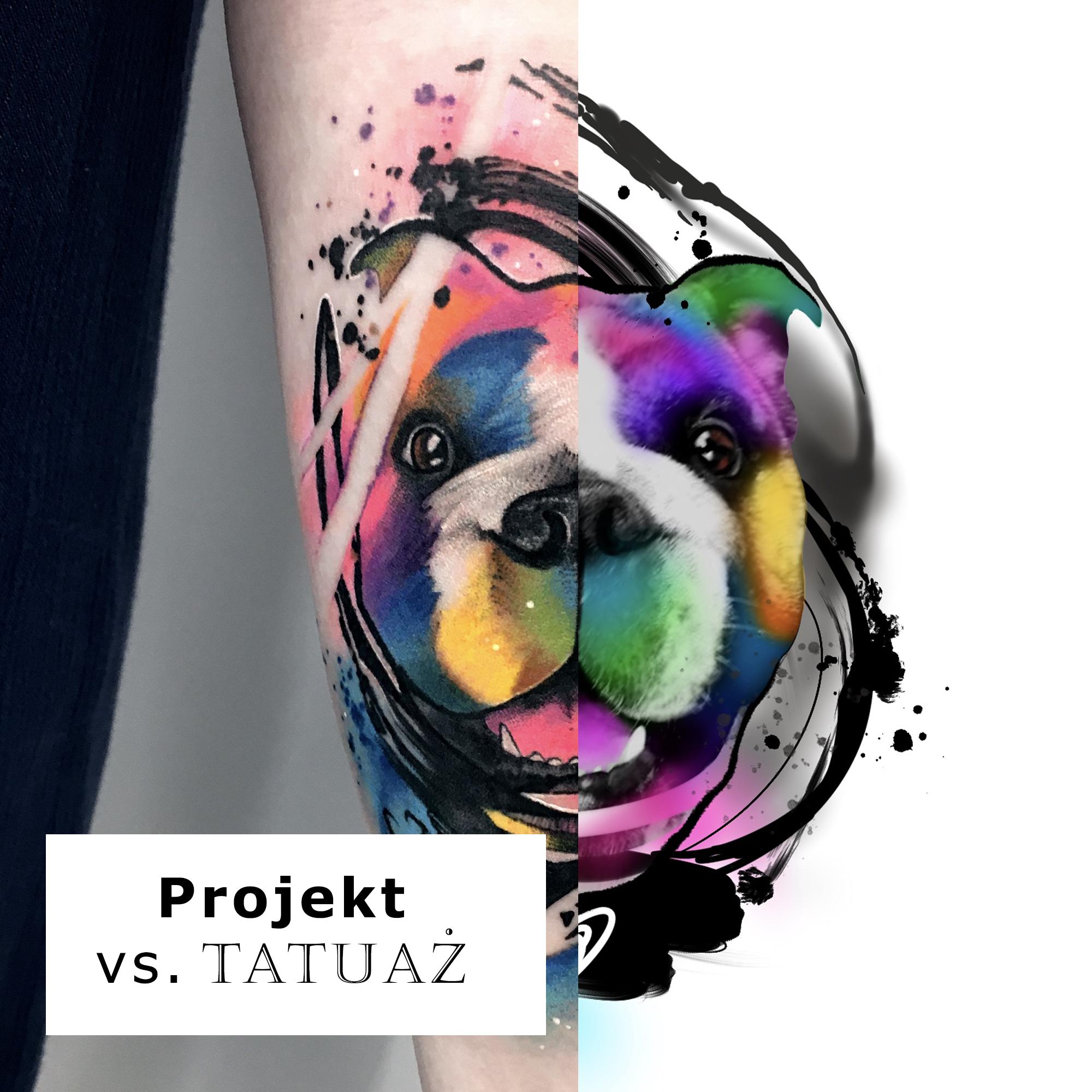 Różnice w wyglądzie projektu i wykonanego już tatuażu na skórze